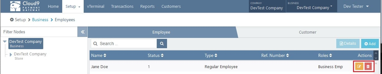 Payment Gateway Business Employee List